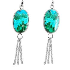 14.30cts natural green azurite malachite 925 silver dangle earrings r75677