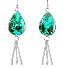 14.09cts natural green azurite malachite 925 silver dangle earrings r75679