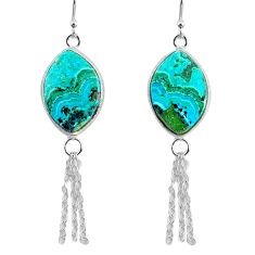 14.91cts natural green azurite malachite 925 silver dangle earrings r75680