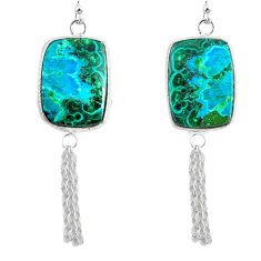 16.68cts natural green azurite malachite 925 silver dangle earrings r75693