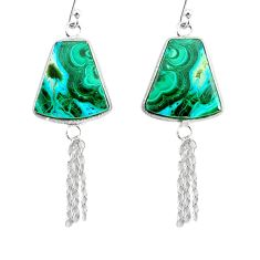 19.09cts natural green azurite malachite 925 silver dangle earrings r75694