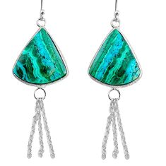 14.91cts natural green azurite malachite 925 silver dangle earrings r75697