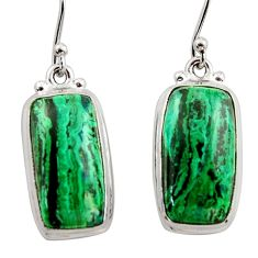 16.43cts natural green azurite malachite 925 sterling silver earrings r34776