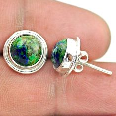 6.27cts natural green azurite malachite 925 sterling silver stud earrings t52441