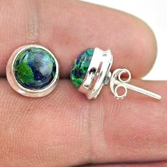 6.68cts natural green azurite malachite 925 sterling silver stud earrings t52444