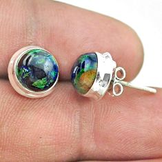 6.70cts natural green azurite malachite 925 sterling silver stud earrings t52448