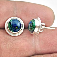 6.27cts natural green azurite malachite 925 sterling silver stud earrings t52457