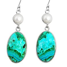 17.96cts natural green azurite malachite pearl 925 silver dangle earrings r75661