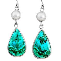 17.17cts natural green azurite malachite pearl 925 silver dangle earrings r75662