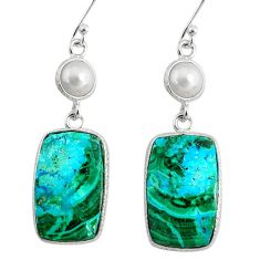 18.42cts natural green azurite malachite pearl 925 silver dangle earrings r75663
