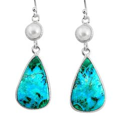 14.12cts natural green azurite malachite pearl 925 silver dangle earrings r75665