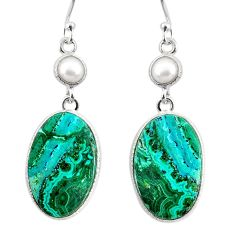 19.55cts natural green azurite malachite pearl 925 silver dangle earrings r75666