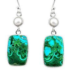 19.76cts natural green azurite malachite pearl 925 silver dangle earrings r75686