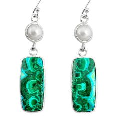 21.44cts natural green azurite malachite pearl 925 silver dangle earrings r75688