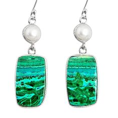 22.81cts natural green azurite malachite pearl 925 silver dangle earrings r75690