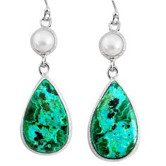 16.07cts natural green azurite malachite pearl 925 silver dangle earrings r75692