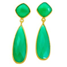27.33cts natural green chalcedony 925 silver 14k gold dangle earrings r32486