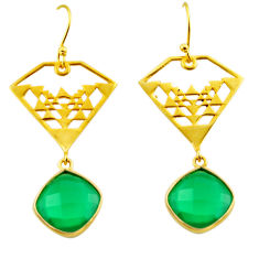 12.96cts natural green chalcedony 925 silver 14k gold dangle earrings r32875