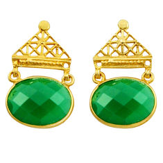 19.30cts natural green chalcedony 925 silver 14k gold dangle earrings r32934