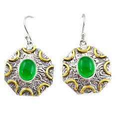 6.96cts natural green chalcedony 925 silver 14k gold dangle earrings r37181