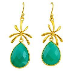 17.81cts natural green chalcedony 14k gold handmade dangle earrings t11471