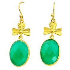 18.48cts natural green chalcedony 14k gold handmade dangle earrings t11511
