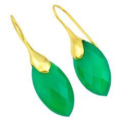 19.12cts natural green chalcedony 14k gold handmade dangle earrings t11576