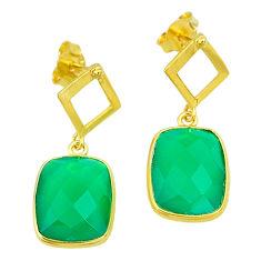 10.08cts natural green chalcedony 14k gold handmade dangle earrings t11585