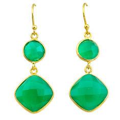 16.07cts natural green chalcedony 14k gold handmade dangle earrings t11606