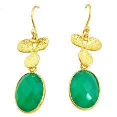 11.73cts natural green chalcedony 14k gold handmade dangle earrings t11692
