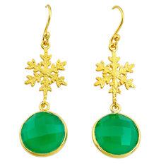 12.58cts natural green chalcedony handmade14k gold dangle earrings t16402