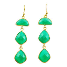 15.32cts natural green chalcedony 925 silver 14k gold dangle earrings t44142