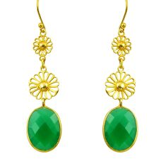 16.88cts natural green chalcedony 925 sterling silver 14k gold earrings r33321