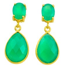 12.38cts natural green chalcedony handmade 14k gold dangle earrings t16362