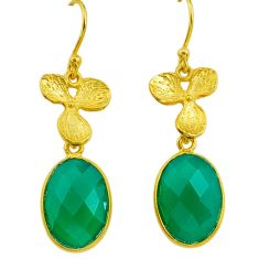 11.17cts natural green chalcedony handmade 14k gold dangle earrings t16399
