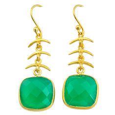 12.52cts natural green chalcedony handmade 14k gold dangle earrings t16422