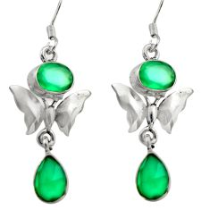 8.80cts natural green chalcedony 925 sterling silver butterfly earrings d46902