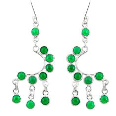 10.78cts natural green chalcedony 925 sterling silver chandelier earrings d39801