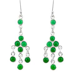 9.16cts natural green chalcedony 925 sterling silver chandelier earrings d39807