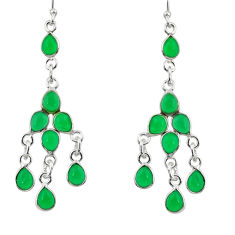 12.58cts natural green chalcedony 925 sterling silver chandelier earrings r33446