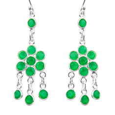 11.20cts natural green chalcedony 925 sterling silver chandelier earrings r35610
