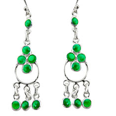 8.13cts natural green chalcedony 925 sterling silver chandelier earrings r35668
