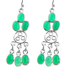 11.62cts natural green chalcedony 925 sterling silver chandelier earrings r37403