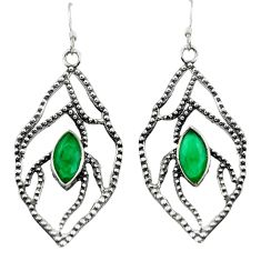 Clearance Sale- 5.53cts natural green chalcedony 925 sterling silver dangle earrings d45736