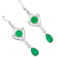 Natural green chalcedony 925 sterling silver dangle earrings jewelry c23004