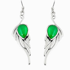5.18cts natural green chalcedony 925 sterling silver dangle earrings r19791