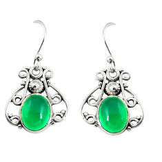 4.69cts natural green chalcedony 925 sterling silver dangle earrings r19885