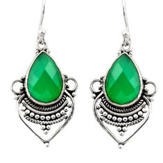 8.73cts natural green chalcedony 925 sterling silver dangle earrings r30899