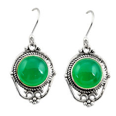 9.18cts natural green chalcedony 925 sterling silver dangle earrings r30926