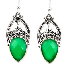 8.09cts natural green chalcedony 925 sterling silver dangle earrings r31032
